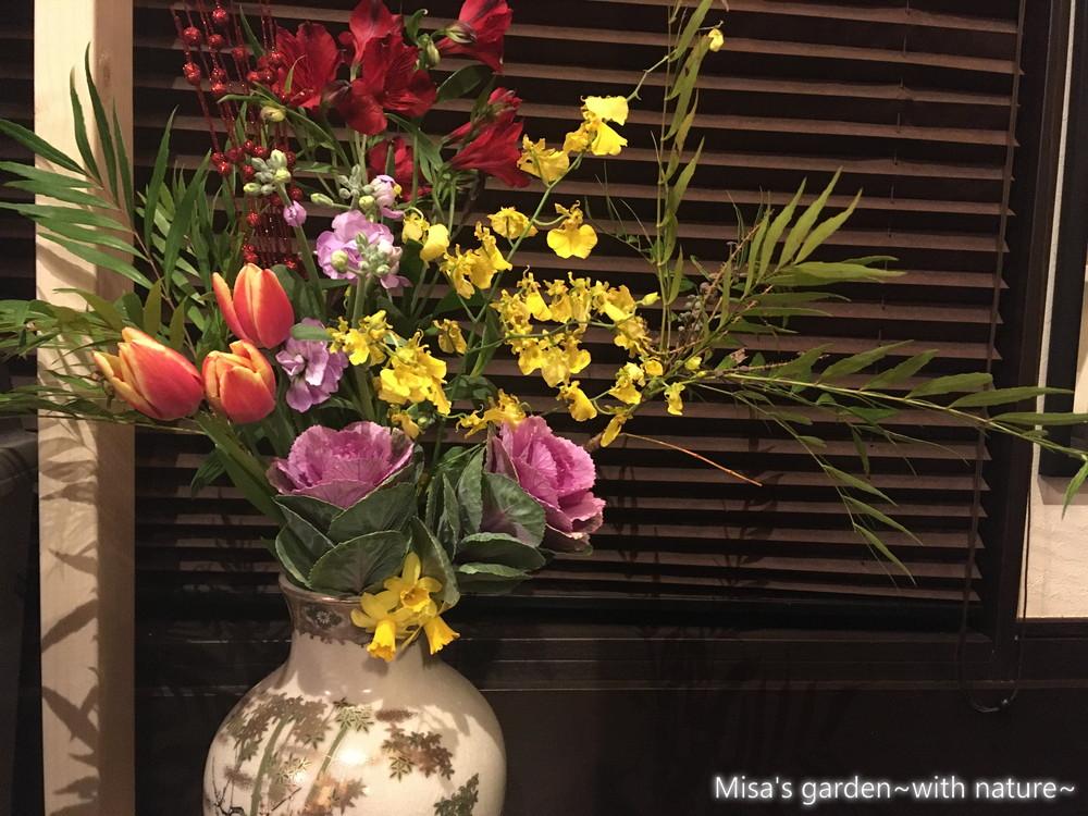 お正月の生け花準備